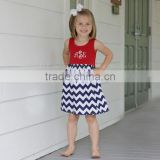 High quality July 4th patriotic baby girl dress chevron smocked dress casual children cotton frocks designs