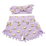 Beautiful Kids outfit pom pom shorts with polka gold dot and headband for children sweet shorts