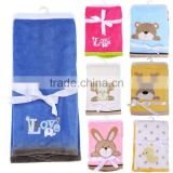 cute cartoon animal flannel fleece embroidered baby blanket