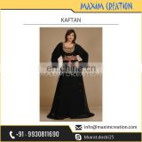 Alluring Black Coloured Kaftan Style Dress with Long Sleeves Available at Low Rate