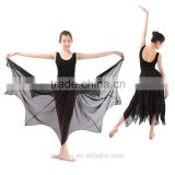 Latest Lyrical Ballet Long Chiffon Dress Sleeveless Sexy Leotard with Long Dress Stage Performance Costumes Dress
