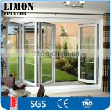 aluminum bi folding glass doors for balcony with beautiful grill design