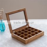Custom Wooden Tea Box With 20 Compartments With Clear Windows,coffee box                                                                         Quality Choice