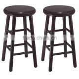 Wood 24-Inch Swivel Bar Stools, Dark Espresso Finish, Set of 2