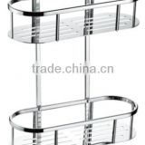 Stainless steel bathroom shelf, stainless steel dual tiers rack with hooks, 735-2