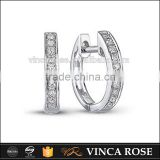 Popular Design Hand Setting 925 Sterling Silver CZ Hoop Earrings