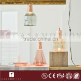 CASAMOTION Modern Amber Hand Blown Art Glass 1 Light LED Plug-in Pendant Light Ceiling Lamp