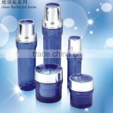 Blue colour fancy cosmetic glass bottle, glass cosmetic packaging,glass airless sprayer pump