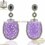 925 Silver Gold Earrings, Amethyst Carving Gemstone Earrings, Pave Diamond Earrings, Gemstone Handcrafted Jewelry Manufacturer
