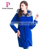 2015 Autumn and winter women Coat Medium length Silver Fox Removable Fur collar hat cashmere overcoat