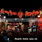 Holiday/festive decoration chinese style red flower street decor led street decoration arch motif light in holiday lighting