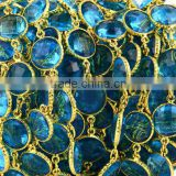 AAA Beautiful Natural Blue Topaz Round Shape Bezel Link Continuous Connector Chain 12mm In 24k Gold Plated Wire by foot