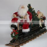 XM-A6021 42 inch lighted santa sitting on three trunks train with elf and tree for christmas decoration