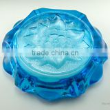 Green solid color crystal high quality customized size popular round ashtray flower engraved base