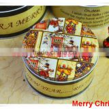 alibaba china supplier metal tin box/cookie packaging/christmas round tin box