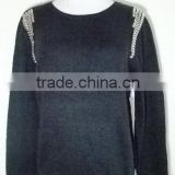 fur trim long sleeve and OEM service supply outwear sweater clothing sequins design knitting Pullover, sweater