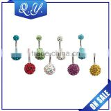 NB0194 Rhinestone Ball Free Belly Piercing Jewelry, Nickle Free Belly Button Rings