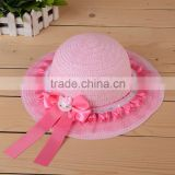 hot selling ribbon bow and lace summer sun-resistant children straw hat
