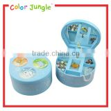 Baby blue animal pattern decorative plastic music box with mirror jewelry music box