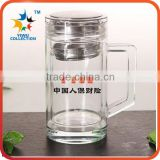 High Quality 500ML Double Wall Insulated Glass Water Bottles With Bamboo Lid and Tea Infuser