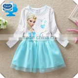 (Q908) 2-6y Baby fashion dress designs frozen wholesale elsa dresses kids clothes long sleeve polka dot girl frocks elsa dresses