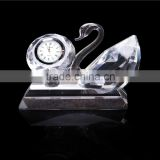 Wholesale Fancy Crystal Diamond Shape Clock with Clear Swan For Sports Souvenir