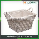 China Christmas Beautiful Best Colored Antique Decoration Cheap Big Size Square Brown Wicker Willow Storage Basketfor Promotion