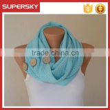 V-436 fashion knit button scarf knitting circle neck warmers women button infinity scarves