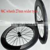 Dengfu cheap 700C 27mm 86mm carbon road bike clincher wide wheels/rim, 27mm width carbon road bike clincher wheelset/rim