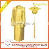 Shiny Gold wholesale Graduation Gown Cap and Tassels