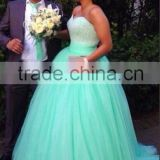 (MY2010) MARRY YOU China Custom Made Sweetheart Bling Crystal Beaded Ball Gown Green Wedding Dress