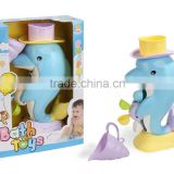2016 baby shower favors bath toy organizer water pipes squirt dolphin bath toy with CE/ROHS certificates