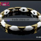 2015 Hottest Bracelets Jewelry Gold & White Mens Ceramic Bracelets