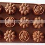FDA&LFGB Approved 15 Cavities Silicone Chocolate Mould Sugar Craft Cake Jelly Baking Mould for Sale