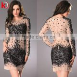 Hot selling charming beaded sexy long sleeve round neck sparkle short homecoming dress