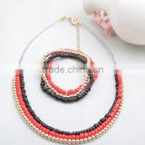 German flag color jewelry popular new clavicle short red and black beads gold jewelry set