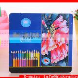 Factory Wholesale Anti Breaking Soft Core Matel Box 24 pcs Wood Water Colored Drawing Pencils