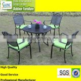 Outdoor furniture black cast aluminium dining table and chairs garden furniture, home furniture