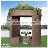 Outdoor supplier dia 2.7m cyclider design rattan gazebo/luxury wicker garden leisure tent with table and chairs