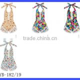 Wholesale Yiwu Cheap Kids Clothes Flower Printed Halter Sleeveless Lace Froal Baby Girl Vintage Romper Leotard Bodysuit
