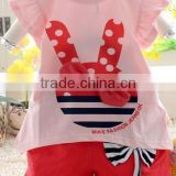 2014 girls summer suit Easter ruffle pants outfit, Girls Easter Bunny Outfit Set, lovely rabbit 2pcs clothing set with bows