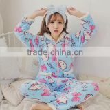 Best selling cartoon pattern printed women sleepwear fleece winter
