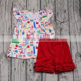 Yawoo fashion kids girls back to school boutique outfits short icing pants 2pcs clothing set for student children clothes school