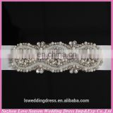 LB0003 Quality fabric best handmade High end appliqued pearl and rhinestone strip for wedding belt 2015