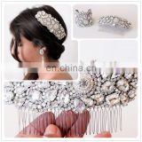Aidocrystal Handmade High Quality Wedding Hair Accessories Silver Color Metal Pearls Rhinestone Hair Comb