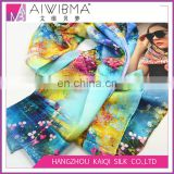 Fashionable digital print Hot-selling 12 momme Silk satin Long Scarf with colorful floral pattern