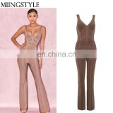 2018 Hot sale sleeveless V neck designer one piece bandage sexy jumpsuit for women
