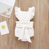 New Product Solid Color One-Piece Infant Girls Bodysuit Ruffled Sleeves Baby Romper