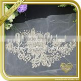Clear crystal sew on flower embroidery applique patch beaded appliques for wedding dresses FHA-037