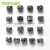Topearl Jewelry Assorted Stainless Steel Bead European Charm Bead Antique Black Silver TCP01